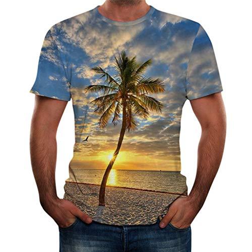 Xmiral T-Shirt Herren Landschaft 3D Gedruckte Kurze Ärmel Bluse Oben Persönlichkeit Cool Tanktop Poloshirt Elastizität Kurzarmshirt(Gelb-Baum,L)