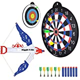 GIGGLE N GO 4 Games on 1 Magnetic Dart Board. Or use as 2 Targets for Shooting Practice for Kids - Our Dart Board, Also Includes a Foam Darts for Boys. One of The Hottest Gifts for Christmas 2019