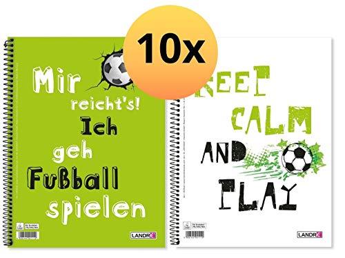 LANDRE 400130269 Collegeblock 10er Pack mit zwei Fußball Sprüchen A4 80 Blatt kariert mit Rand links und rechts