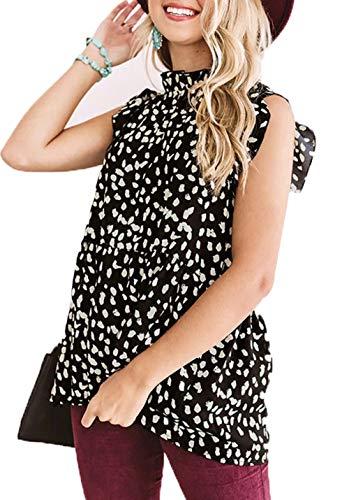 KIRUNDO 2021 Summer Women's Tunic Tops Ruffle Neck Cap Sleeves Shirts Floral Print Loose Babydoll Tank Tops Pleated Blouses (X-Large, Leopard-Black)