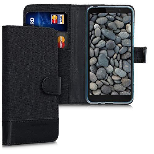 kwmobile Hülle kompatibel mit Motorola Moto E6 Play - Kunstleder Wallet Hülle mit Kartenfächern Stand in Anthrazit Schwarz