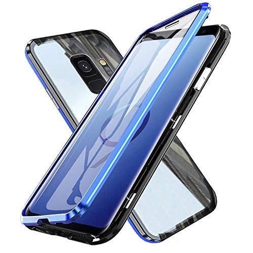 Gypsophilaa Custodia Magnetico per Samsung S9,Galaxy S9 Cover 360 Gradi Full Body Trasparente Vetro Temperato+Alluminio Metal Bumper con Adsorbimento Magnetico Copertura Case per Samsung Galaxy S9