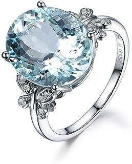 Fashion Ring 6 Carat Topaze Bleu Papillon Bague en Argent Sterling Ovale Bague de Fiançailles Bagues Pierres Précieuses Sa...