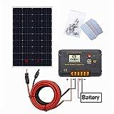 ECO-WORTHY Système de panneau solaire 12 V : panneau solaire mono 120 W, contrôleur de charge solaire 20 A, câble solaire de 5...