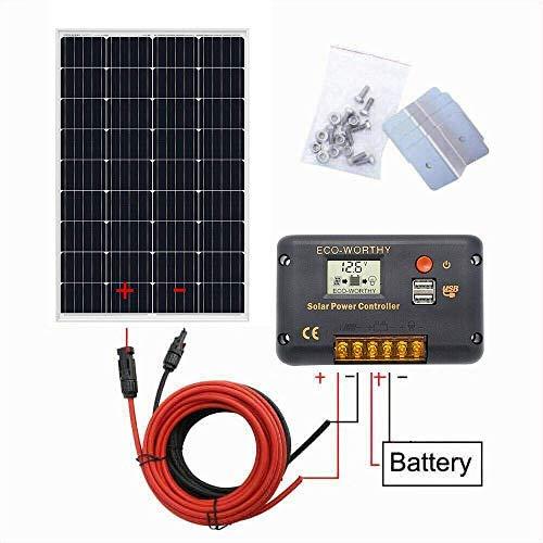 ECO-WORTHY Sistema de panel solar de 12 V: panel solar mono de 120 W y controlador de carga solar de 20 A y cable solar de 5 m y soportes de montaje estilo Z para barco, caravana, caravana
