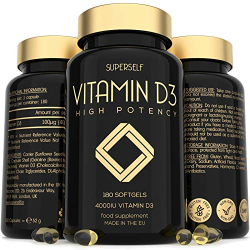 Vitamin D 4000 IU - 180 Softgel Capsules - High Strength Vitamin D3 - VIT D3 Supplement Tablets for Bones, Teeth, Immune System - Easy to Swallow High Absorption Vitamin D Cholecalciferol 4000IU