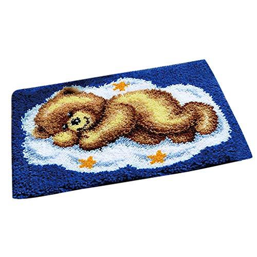 F Fityle Knüpfteppich für Kinder und Erwachsene zum Selber Knüpfen Teppich- Bär