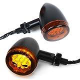 2pcs LED Turn Signal Lights Motorcycle Indicators Blinker Amber Light Universal 12V for Harley Honda Yamaha Suzuki (Turn Signal Lights B)