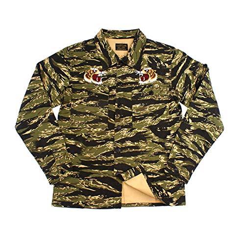 Camisa de Manga Larga para Hombre Camuflaje de otoño e Invierno Camisa de Manga Larga con Bordado Personalizado Camisa Gruesa Bordada Suelta M