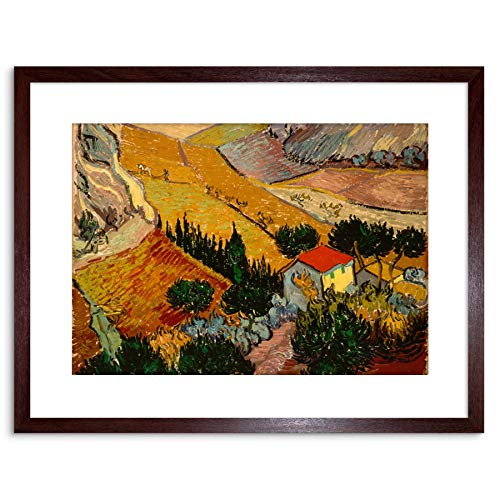 Wee Blue Coo Painting Gogh Vincent Van Landscape with House Ploughman Framed Art F97X12057