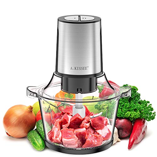 Electric Food Chopper,8-Cup 300W Food Processor Meat Grinder with 2L Glass Bowl for Meat,Vegetables,Fruits and Nuts,Fast & Slow 2 Speeds,4 Sharp Blades