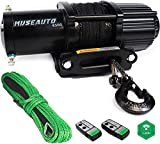 12V 4500LBS Electric Winch Kits with 2 Synthetic Ropes, ATV/UTV Winch for Towing Off Road Trailer with Wireless Remote Control and Mounting Bracket