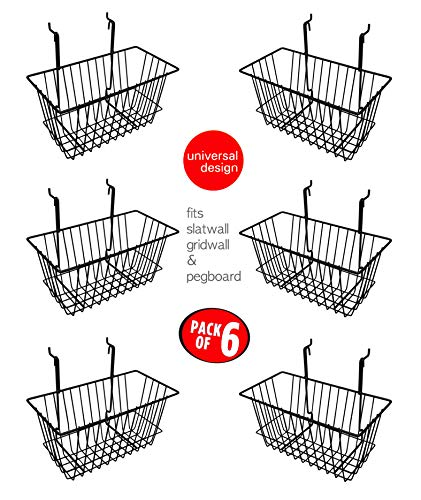 Only Hangers Small Wire Storage Baskets for Gridwall, Slatwall and Pegboard - Black Finish - Dimensions: 12' x 6' x 6' Deep - Economically Sold in a Set of 6 Baskets