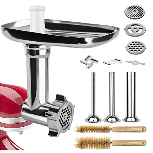 Semlos Food Meat Grinder Attachment, for KitchenAid Stand Mixers, 4 Types of Stainless Steel Grinding Plates + 3 Type of Enema Tube. (Only Accessories, Not Including KitchenAid Stand Mixers)