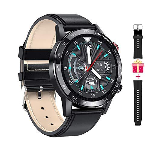 Microwear Smartwatch,Reloj Inteligente Impermeable con Bluetooth,Gift para Hombre,Monitor de Actividad Deportivo,Podómetro,Monitor de Sueño,para iOS Android (Negro)