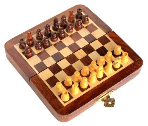 ストンクラフト 手製プレミアムウッド ?縦18センチ×横18センチ チェスセット ? 保存スペース付き ローズウッド折り畳みマグネット式セット