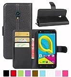 HualuBro Alcatel U5 3G Hülle, Leder Brieftasche Etui Tasche Schutzhülle HandyHülle [Standfunktion] Leather Wallet Flip Hülle Cover für Alcatel U5 3G (Schwarz)