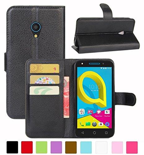 HualuBro Funda Alcatel U5 3G, Carcasa de Protectora Cuero PU Billetera Cartera Plegable Funda [Ranuras de Tarjeta] Flip Leahter Wallet Case Cover para Alcatel U5 3G (Negro)
