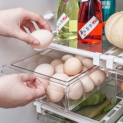 Organizador de nevera, organizador de nevera, caja de almacenamiento, cajón extraíble para nevera con asa, para alimentos, bebidas, huevos, frutas, 30,5 x 20 x 9,5 cm (1 rejilla)