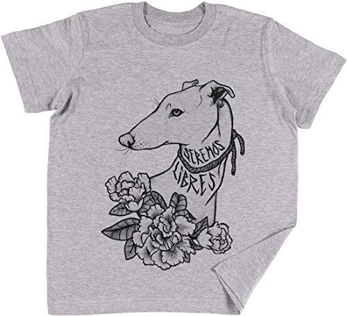 Vendax Seremos Libres - Greyhound Niños Chicos Chicas Unisexo Camiseta Gris
