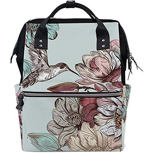 KW-Wosn Retro Blume Kolibri Windel Rucksack große Kapazität Baby Taschen Multifunktions-Reißverschluss Casual Reiserucksäcke