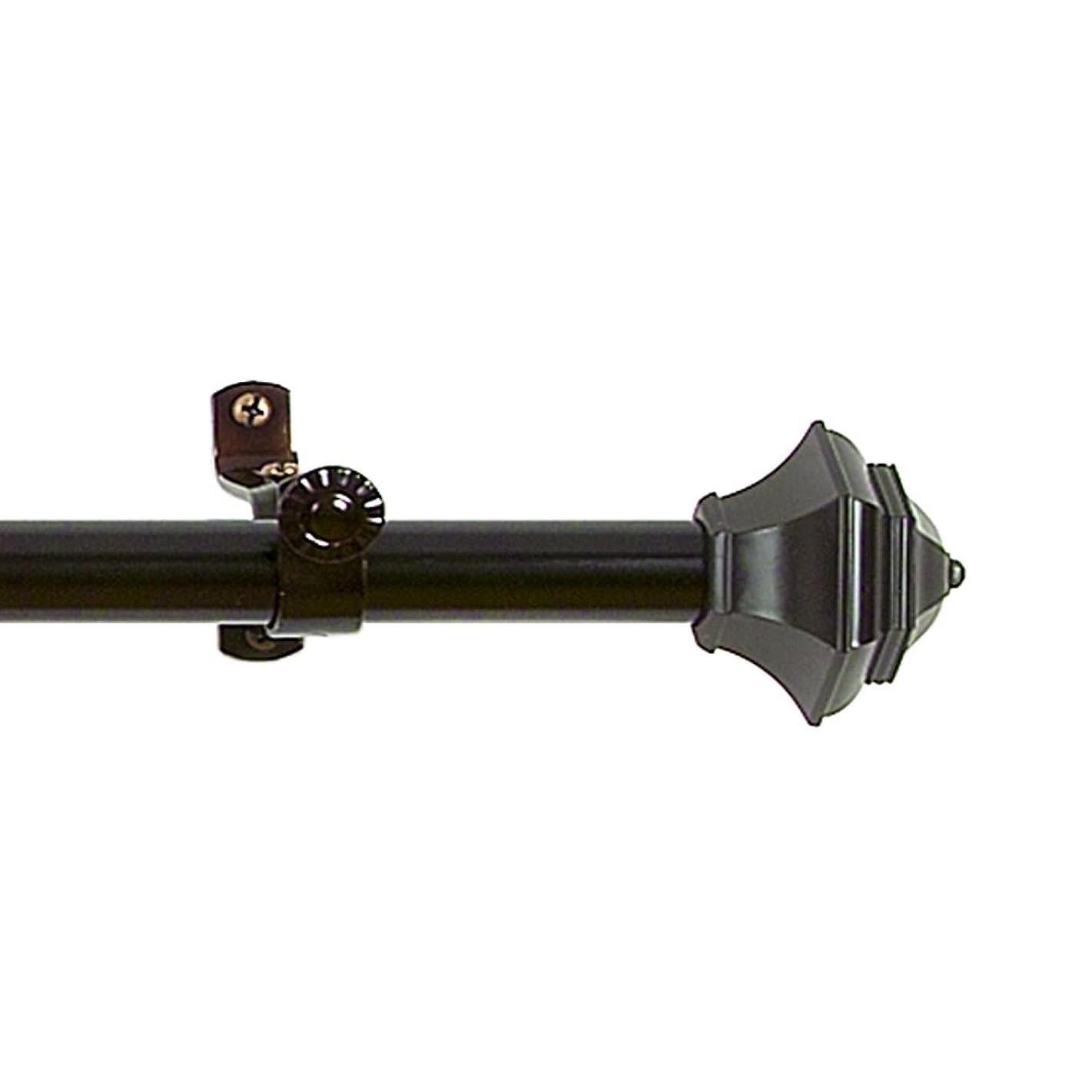 上院議員驚くばかり健康Achim Home Furnishings Buono II Jordanカーテンロッドwithフィニアル 66 inches to 120 inches ブラック RDJNM66120
