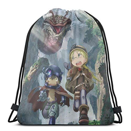 WH-CLA Mochila con Cordón Made In Abyss Anime Shopping Fitness Cinch Bags Al Aire Libre Mochila con Cordón Deporte Casual Único Yoga Hombres Gimnasio Mujeres Imprimir Mochilas con Cordón