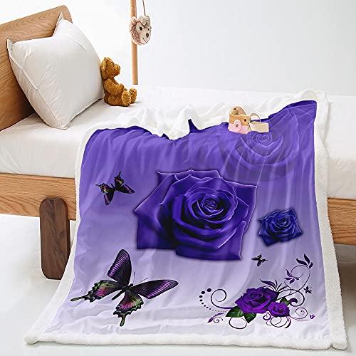 Manta de Lana de Cordero En Microfibra 140X180Cm Extra Suave Acogedora y Cálida Manta Mariposa Rosa Morada 3D Impresión Cubierta de Cama Mantas de Sofa Cama para Adultos y Niños