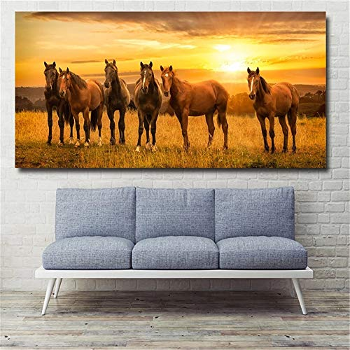 5D DIY Diamond Painting Full Drill Kits by Numbers, Horse Sunset Diamond Art Painting for Adults/Kids Crystal Embroidery Pictures Cross Stitch Canvas Crafts, for Home Wall Decor Round Drill,50x100cm
