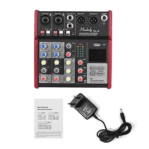 Muslady SL-4 Console de mixage 4 canaux taille compacte EQ 2 bandes Alimentation fantôme 48V intégrée Prise en charge du lecteur MP3 USB BT Connection pour enregistrer DJ Network Karaoke en direct