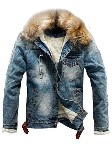 AMEBELLE Men's Faux Fur Collar Ripped Denim Trucker Jackets Fleece Jean Outwear Coat(0116-Blue-M)
