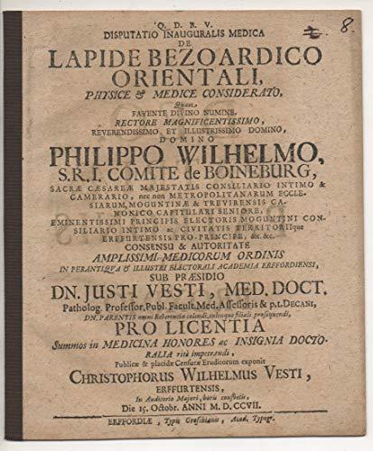 Medizinische Inaugural-Disputation. De lapide Bezoardico orientali, physice et medice considerato.