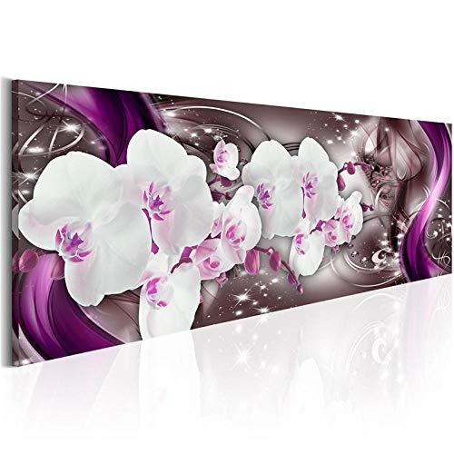 Pintura de Diamante Cristal Rhinestone Gran Tamaño Diamond Painting Mosaico 5D DIY Adultos Niños Bordado Artes Home Pared Decor Taladro Redondo Purple Orchid-70x140cm
