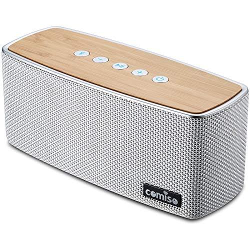 COMISO 30W Bluetooth Lautsprecher Tragbarer Musikbox, Kabelloser Lautsprecher mit tiefem Bass und erstklassigem Klang, 20 Stunden Akkulaufzeit, 66FT Bluetooth Reichweite eingebautem Mikrofon (White)