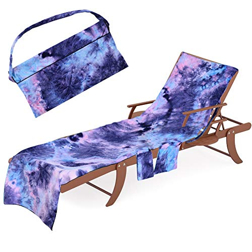 Beach Chair Lounge Towel Cover - Chaise Lounge Slipcover with Side-Pockets Soft Drys Fast, Microfiber Pool Towel Patio Accessories for Patio Lounger Sun Pool Sunbathing Beach Hotel (Tie-Dye Purple)
