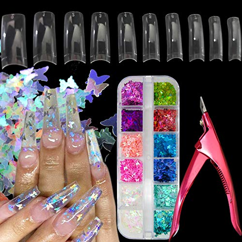 Acrylic Nail Art Tools Kit, 500pc Clear French Nail Tips Artificial False Nails, Holographic Butterfly Nail Glitters Glakes,Nail Tips Clipper