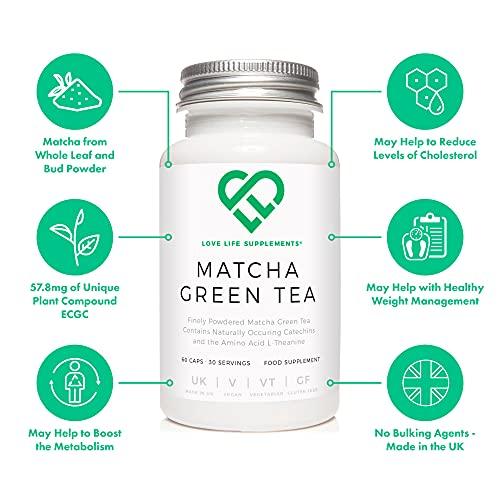 LLS Tè Verde Matcha Giapponese   Antiossidante Pura e Potente   60 Capsule   Prodotto in Gran Bretagna con certificazione GMP sinonimo di sicurezza e qualità.