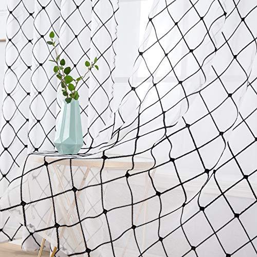 MIULEE 2er Set Sheer Vorhang Halbtransparente Dekorative Ösenvorhänge Gardine aus Voile Polyester Strich Durchwirken Lichtdurchlässig für Wohnzimmer Küche Cafeteria 140x245cm Schwarz