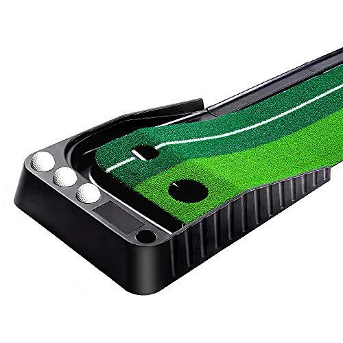 Mibril パターマット ゴルフ練習パット パッティングマット スイング練習 自動返球 高品質人工芝 パター技術向上 折り畳み 収納しやすい(幅30cm×長さ2.5m)