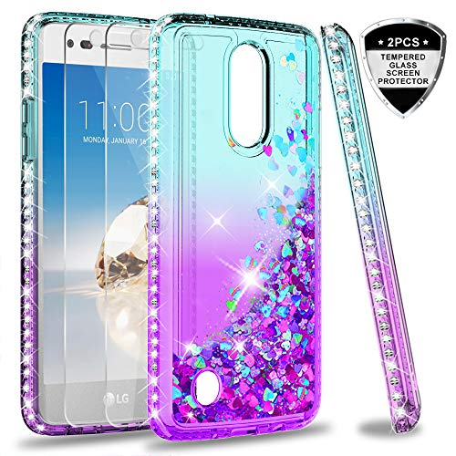 LG Aristo Case, LG Risio 2/ Phoenix 3/ Fortune/Rebel 2 LTE/ K8 2017 Case with Tempered Glass Screen Protector for Girls Women, LeYi Glitter Moving Quicksand Phone Case Cover for LG LV3 ZX Teal/Purple