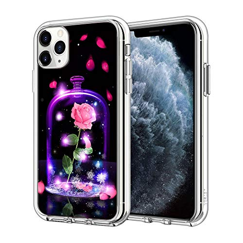 Phone Case for iPhone 12 Pro Max, Beauty Or Beast Clear Transparent Case with A Personality Pattern Explosion-Proof
