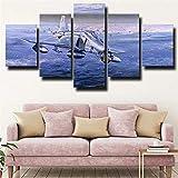 Impresiones en lienzo Obra de arte abstracto 5 Lienzo Arte de la pared Mcdonnell Douglas F-4 Phantom Ii Fighter Pintura azul Imagen Póster de impresión en HD 150X80