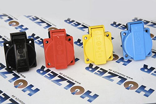 HOLZER 8 Stück Einbausteckdosen Schuko Anbau Steckdose 16A Feuchtraum / PA6 / + Flansch Dichtung (Blau)