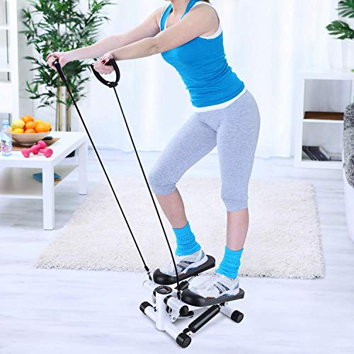 DSHUJC Fitness Stair Stepper, Adjustable Mini Cardio Exercise Twisting Trainer, with Lcd Monitor and Resistance Bands, for Women and Man Total Body Workout