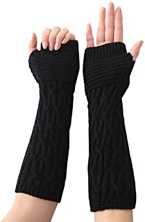 SED Gloves - Outdoor Sports Glove, Ladies Autumn Winter Half Warm Long Gloves Simple Style Fingerless Glove Outdoo Driving Non-Slip Soft Mittens,Black,One Size