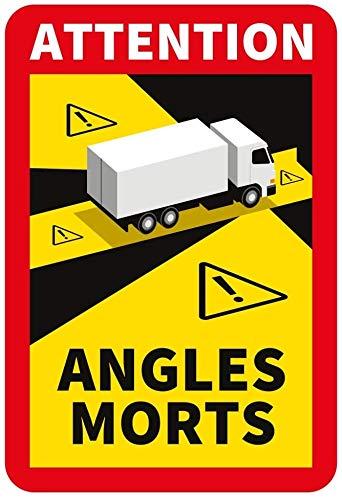 30 Stück Attention Angles Morts für LKW und Wohnwagen 25 x 17 cm Aufkleber Sticker Hinweiszeichen Schild Frankreich mit UV Schutz speziell für Außenbereich von STROBO