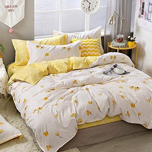 Tbrand - Juego de funda de edredón de 3 piezas, diseño floral de flores botánicas, color amarillo y blanco