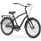 sixthreezero EVRYjourney Steel Men's Single Speed Sport Hybrid Cruiser Bike, 26' Bicycle, Matte Black with Black Seat and Black Grips