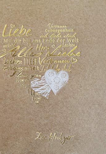 Hochzeitskarte, Glückwunschkarte Hochzeit, mit Folienprägung, ohne Innentext, im Format DIN B6 176 x 125 mm, Karten inkl. Umschlag, Motiv: De Luxe