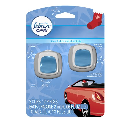 Febreze Car Odor-Eliminating Air Freshener Vent Clips, Linen & Sky - 2ct
